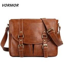 Мужская деловая сумка VORMOR, брендовая повседневная кожаная сумка через плечо, 2019