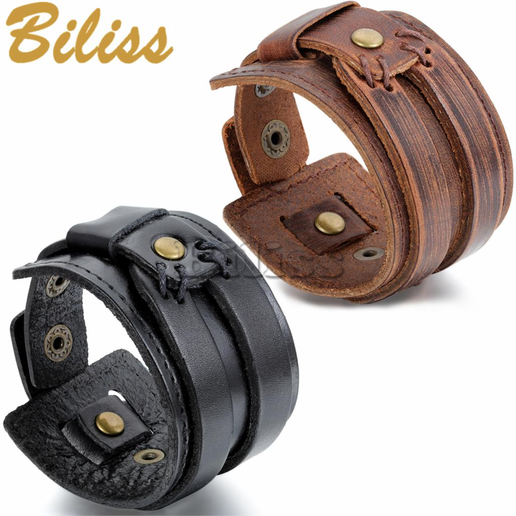 235 Cm Wholesale Punk Style Men's Wide Wrap Leather Bangle Cuff Bracelet  Black & Brown Bracelets