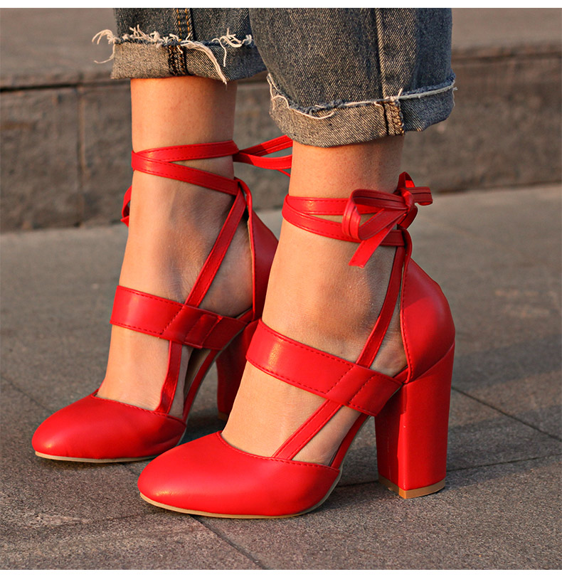 Women Pumps Comfortable Thick Heels Women Shoes Brand High Heels Ankle Strap Women Gladiator Heeled Sandals 8.5CM Wedding Shoes 3
