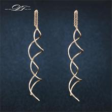Unique Twisted Bar Long Line Chain Earrings Silver/Rose Gold Color Fashion Drop/Dangle Earring Jewelry Ear Cuff For Women DFE243