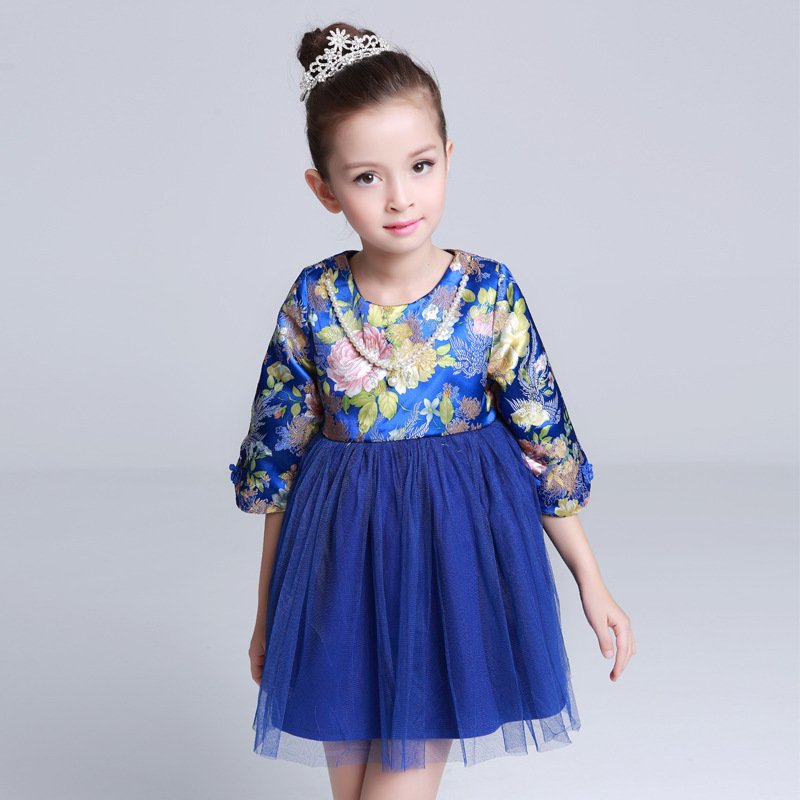 Girl Dress with Flower Embroidery 2016 long Sleeve Party Dresses Girls Knee Length Dresses Kids Vintage Vest Dress Vestido<br><br>Aliexpress