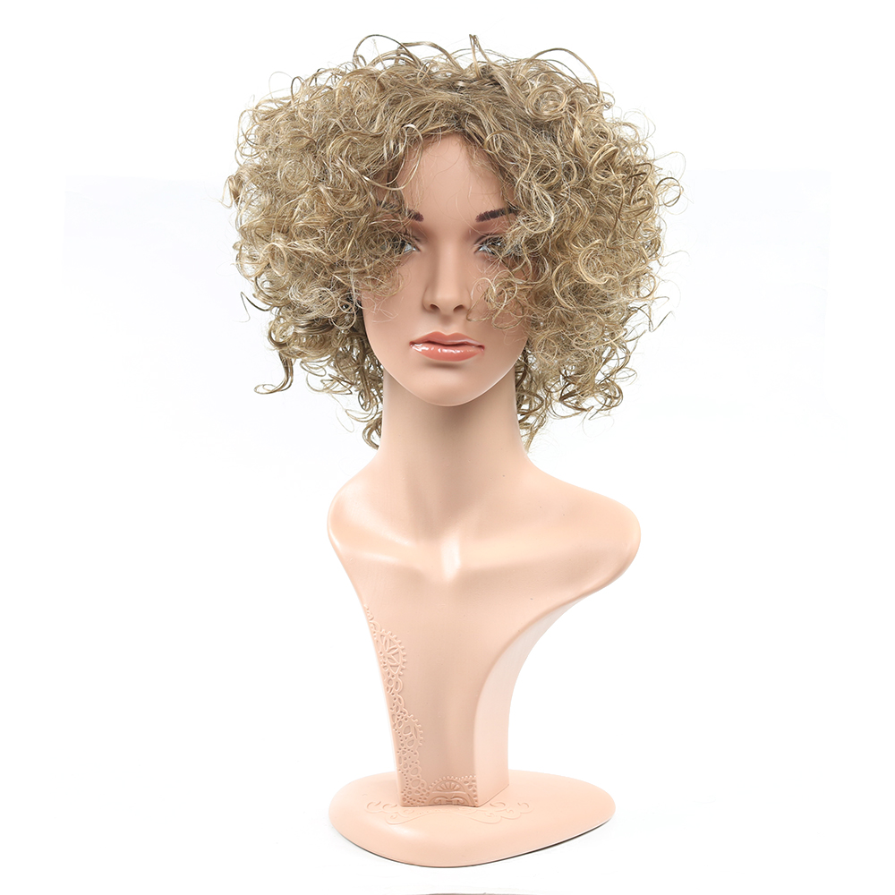 Blonde Kinky Curly Synthetic Wig Heat Resistant Fro Curly Wigs Layered Haircuts Synthetic Curly Wig  lolita womens wig cosplay<br><br>Aliexpress