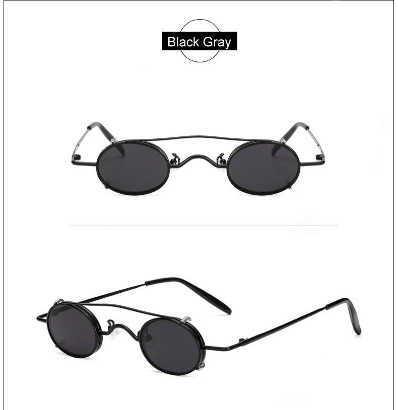 Ralferty Vintage Small Clip On Sunglasses Women Men Retro Mini Steampunk Goggles Punk Sun Glasses UV400 Eyewear Accessories B012 8