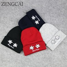 ZENGCAI Child Hat Beanies Skullies Winter Kids Hats For Boy Girl Cute Palm Embroidery Baby Cap Knit Wool Gorro Fit For 1-6 Years(China)