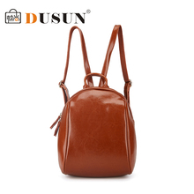 DUSUN 2017 Real Genuine Leather Women Backpack School Bags Teenagers Fashion Ladies Backpack Bags New Arrival Backbag(China)