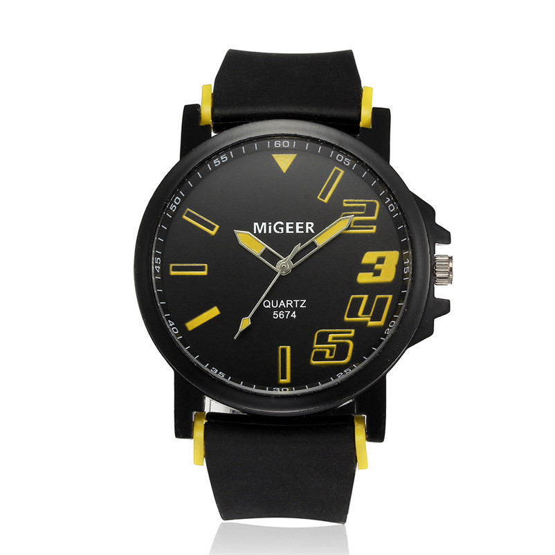 New Listing Saat Erkekler Men's Watch Casual Men Fashion Silicone strap Sport Cool Quartz Analog Hours Wrist Watch Clock 3M24 (4)