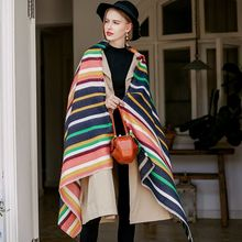 Korean Style Cashmere Scarves Women Fashion Colorful Striped Scarf Thicken Warm Rough Selvedge Cappa Tippet Outdoor Ladies Wraps