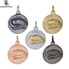 Summer Love Stainless Steel Round Cobra Charm Pendant Wholesale Silver Snake Charms Fit Snake Shape Bangle Necklace Making