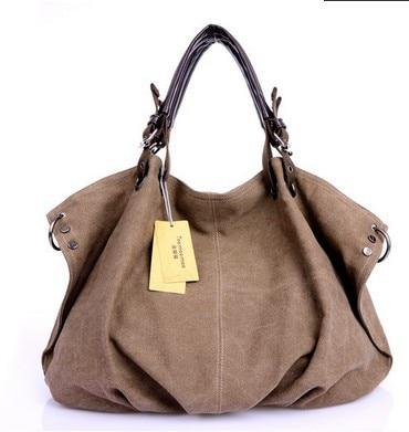 Brand Design Casual Women Handbag Large Canvas Shoulder Bag Tote Bolsa Feminina Women Tote Satchel Khaki School Bags<br><br>Aliexpress