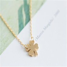 Fashion Sweet Style Leaves Necklace Clover Pendant Necklace Four Leaf Clover Necklace Lucky With Good Wishes(China)