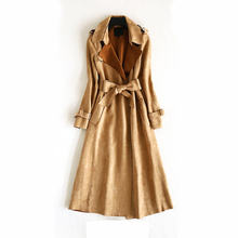 2017 New Artificial Suede Women Spring Overcoat Fashion Windbreaker Solid Color Long Sleeves Turn-down Collar Trench Coat OK599