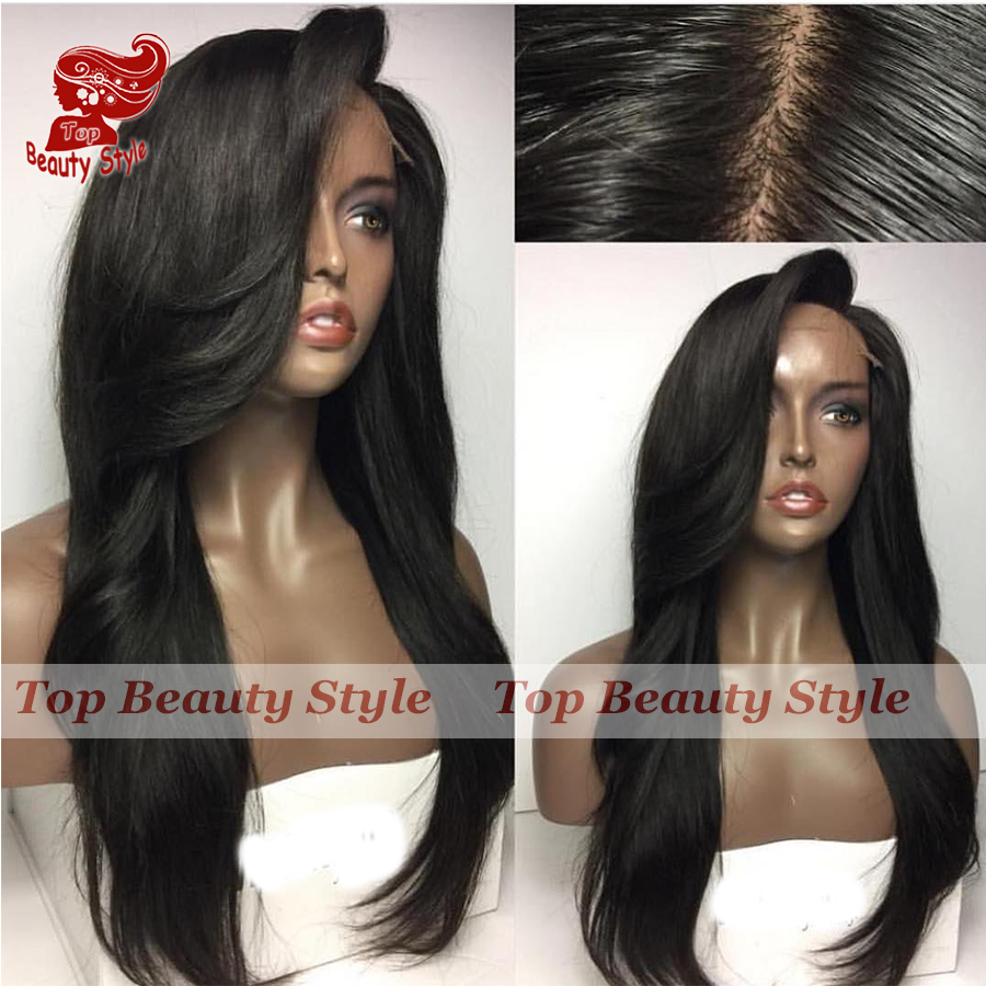 Hot Sale Synthetic lace front wig Long Natural Straight Wigs with Bangs Heat Resistant Synthetic Wigs for Black Women <br><br>Aliexpress