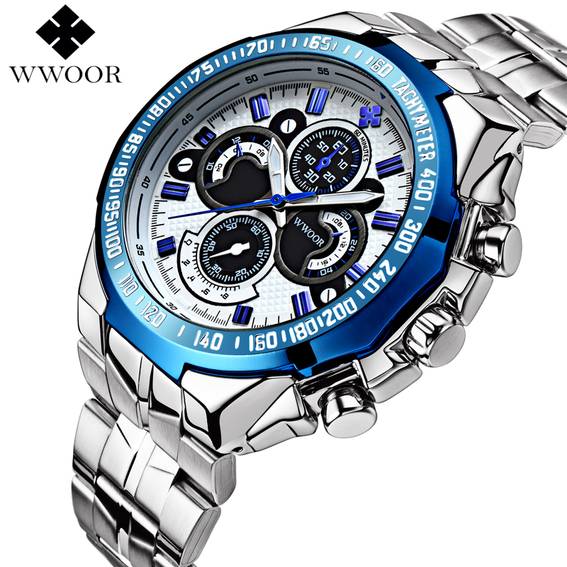 WWOOR Luxury Brand Waterproof 50m Japan Movt Men Casual Quartz Watch Men Military Sports Watches Male Stainless Steel Wristwatch<br><br>Aliexpress