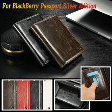 Caseme Luxury Leather case for BlackBerry Passport Silver Edition Flip Stand Card Slots wallet Style Phone Bag Fundas Capa Coque(China)