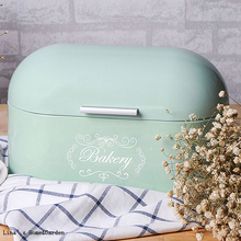 Hinged Lid Durage Light Green Retro Kitchen Tin Bread Bin Storage Box