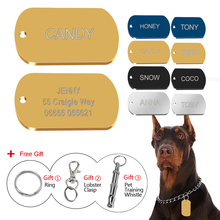 4 Colors Metal Military Dog Tags Customized  Engraved Cat Puppy Name Tag Phone No. Free Gift Gold Silver Tag