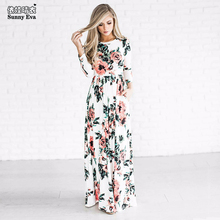 Sunny eva Dress up mom and daughter long print dress clothes mother Daughter Family clothes2017 family set Couple matching cloth