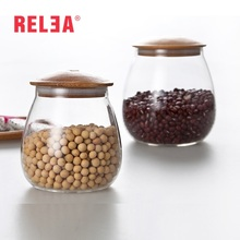 RELEA Food Storage Bottles Glass Jar Sealed Cans with Cover Large Capacity Tampion Cereals Bottle Tea Box Clear Round Cases(China)