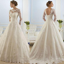 Full Sleeve Backless Sweep Train Wedding Dresses With Scalloped Neck 14 16+ 18W 20W 22W 24W 26W 28W Plus Size Custom