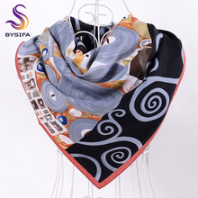 [BYSIFA] Ladies Winter Twill Square Scarves New Large Square Scarves Wraps Female Black Grey Twill Scarf Shawl Imitated 90*90cm(China)