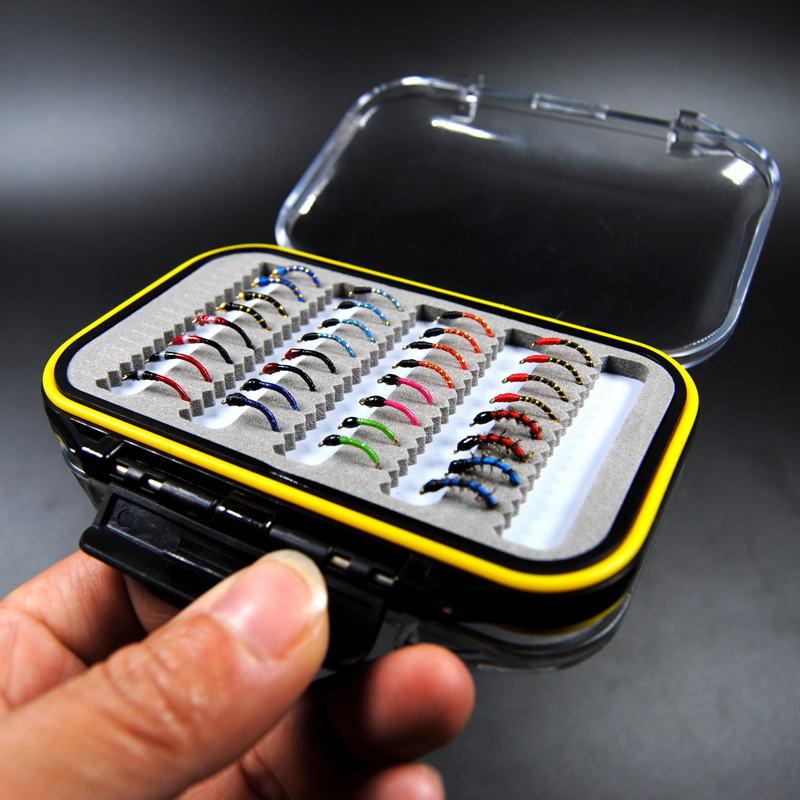 Waterproof Fly Box + Assorted Nymph Mixed Trout Bass Panfish Fishing Flies Artificial Lures<br>