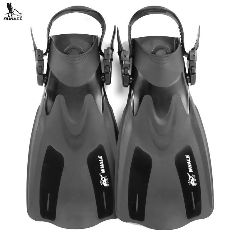 RUNACC Diving Flippers Adjustable Swimming Fin Premium Snorkeling Swim Fins One Pair Black<br>
