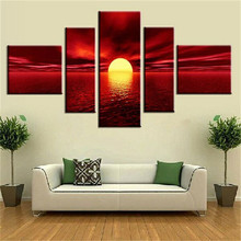 Hot Sale Art Modern Giclee Canvas Prints Sea Beach Artwork Red Sun Photo Canvas Wall Art for Living Room Home Decor(China)