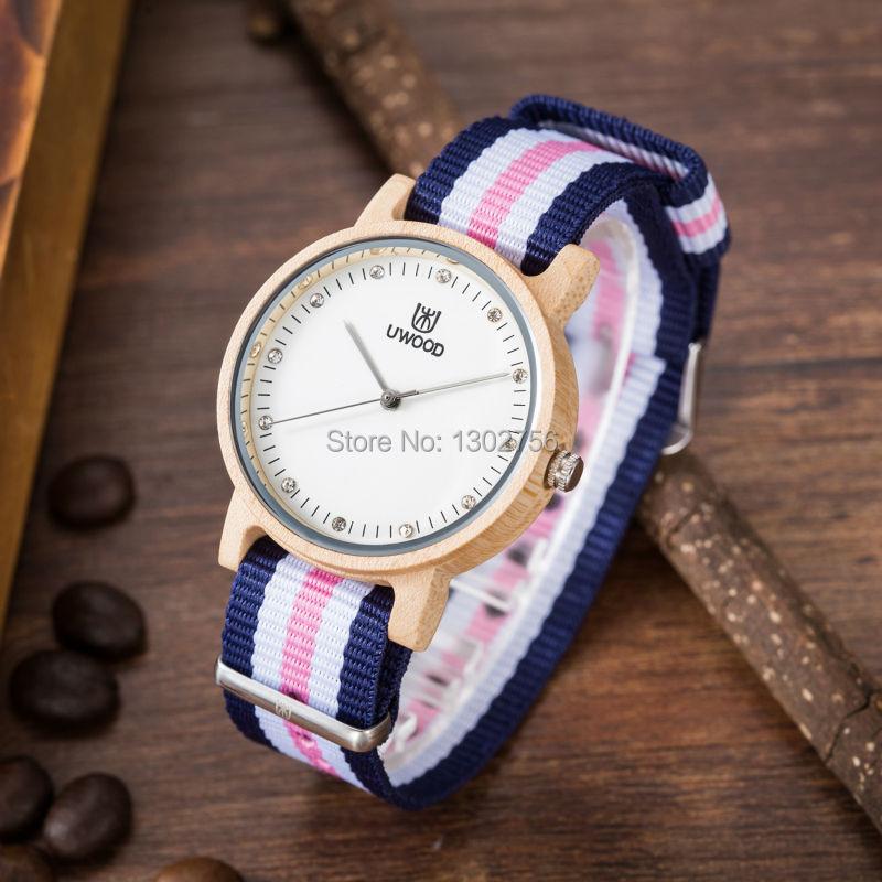 Uwood Luxury Brand Natural Maple Wood Watch For Women Japan MIYOTA Quartz Movement Nylon Band Wooden Watches Free Shipping<br>