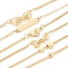 6Pcs/lot Fashion Gold Bracelet Female Bracelets Set Heart Charm Bracelets Party Jewelry For Women P15