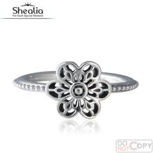 2016 Spring Floral Daisy Lace Rings For Women 925-Sterling-Silver Vintage Wedding Engagement Flower Ring Shealia Jewelry RIP151
