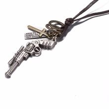 COOL 2016 Charm Men's Necklace Mini Tattoo Gun Choker Necklace Pendant Long Brown Leather Necklace Cord Jewelry For Men Gift 273(China)