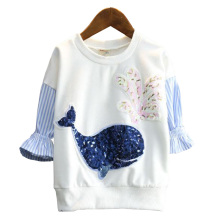 Spring T-Shirts For Girls Sequins Pattern Whale Blouses Ruffle Raglan Sleeve T Shirts Clothes For Kids Costumes Children Tops