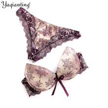 Yaqianting Women Bra Set High Quality Sexy Push Up Bra Satin Luxury Lace Flower Charming Underwear Brief Lingerie Plus size(China)