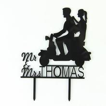 1Pcs Wedding Cake Topper - Personalized Monogram Cake Topper - Mr and Mrs - Cake Decor - Bride and Groom Black L50