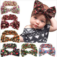 Fasion Cute girl cotton bow headband newborn kids flower floral printed hair wear hair accessories(China)