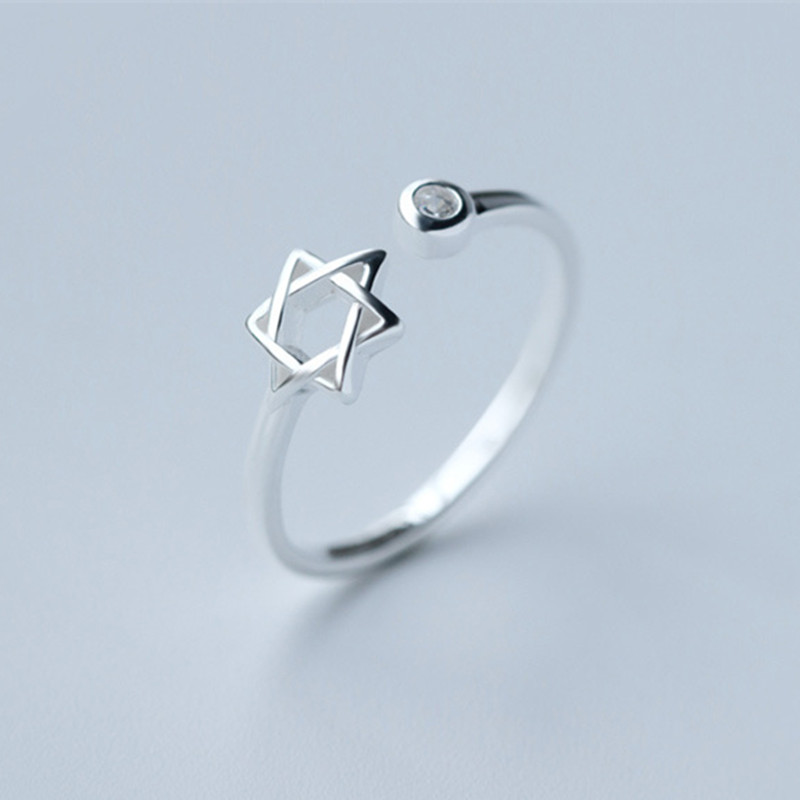 Wholesale- 10pcs 2015 New Star of David Magen Hebrew Shield Open Adjustable 925 Silver Ring | Jewish Star Symbol Jewelry Gift