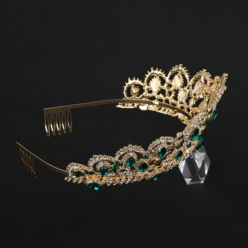 KMVEXO European Drop Green Red Crystal Tiaras Vintage Gold Rhinestone Pageant Crowns With Comb Baroque Wedding Hair Accessories 4