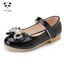 Girls Shoes 2017 PU Leather Nice Girl Shoes Wedding Dress Shoes for Girls School Big Girls Party Elegant Black Leather Shoes(China)