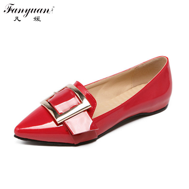 Fanyuan Hot Plus Size Lazy Shoes Women Flats Pointed Toe Big Buckle Shoes Patent Leather 2017 Spring Ladies Slip On Cozy Loafers<br><br>Aliexpress