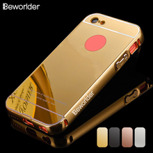 Beworlder For Apple iPhone 5C Case iPhone5C Gold Color Matel Frame Mirror Back Plate Luxury Case New Brand Phone Bag Cover(China)