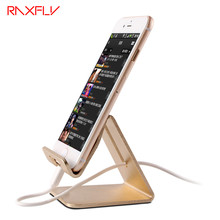 RAXFLY Universal Aluminum Metal Cell Phone Tablets PC Desk Stand Holder For iPhone X Support Bracket For iPhone 8 7 6 6S Plus(China)