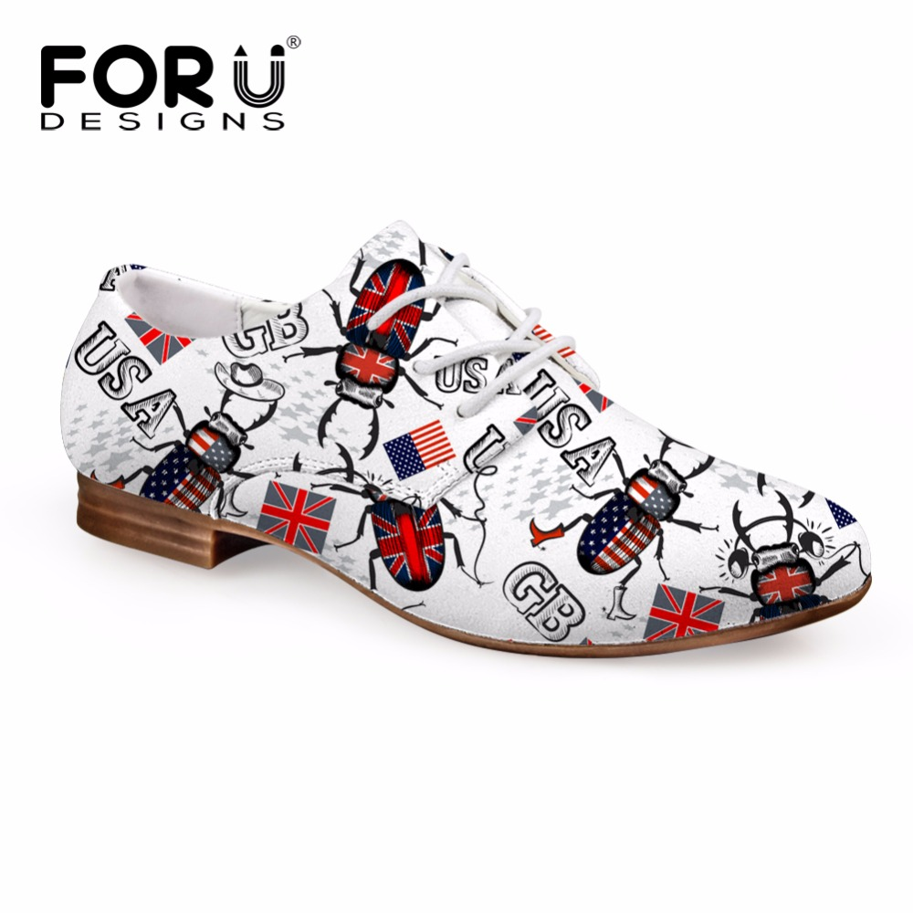 FORUDESIGNS Brand Womens Flats Casual Women Lace up Leather Oxfords Brogues Shoes Fashion Flags Patchwork Flat Shoes for Female<br>