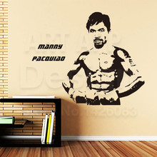 Good quality art new design home decoration Manny Pacquiao boxer vinyl wall sticker removable boxing sports room decor decals