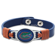 6pcs/lot! Florida Gators Adjustable Genuine Leather Bracelet for Men & Women Fashion Snap Button Charm Leather Cuff Jewelry(China)