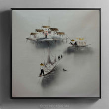 Oil Painting Canvas Abstract Vietnam Landscape Fishing boat Hand painted Wall art Picture Home decor Modern Paintings #977