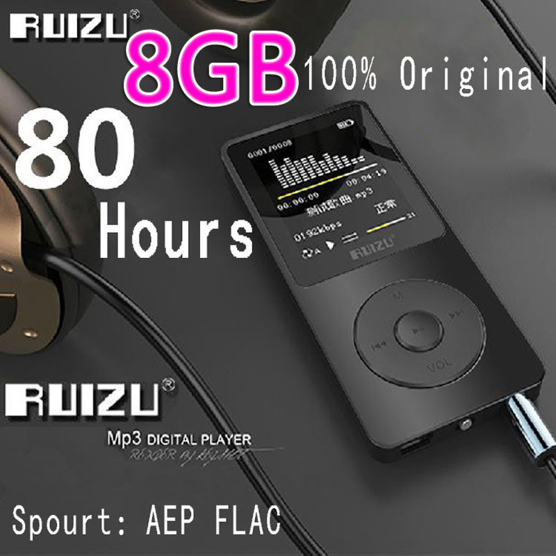 100% Original RUIZU X02 MP3 Player With 1.8 Inch Screen Can Play 100 hours, 8gb With FM,E-Book,Clock,Data(China (Mainland))
