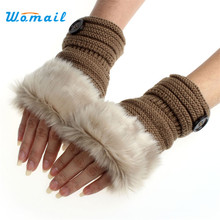Amaizng Fashion Winter Knitted Faux Fur Fingerless Gloves Women Wrist Soft Warm Mitten Free Shipping