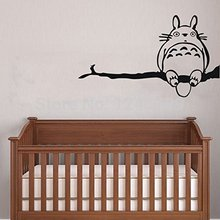 Cute Totoro on Tree Branch Wall Decor Decal for Nursery Room Wall Art Children Sticker Anime Totoro Kid's Room Decal Vinyl Art