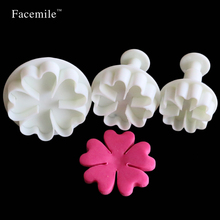 3PCS Heart Flower Cake Fondant Cookie Cutter Decorating Craft Paste Plunger Mold Cake Decorating Mold 01077(China)