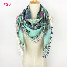 Really nice good quality SQUARE tassel neon color Spring Summer lady scarf hijab